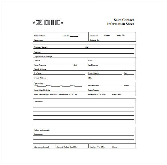Zoic.com The Sales Contact Information Sheet Template Is Specially Designed  For Businesses And Employees Who Are Engaged In Placing Calls To Customers,  ... Throughout Contact Information Template