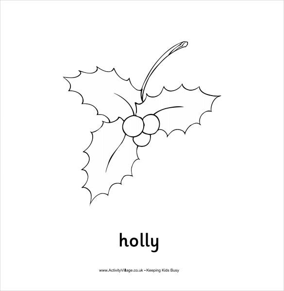 simple holly colouring template