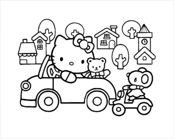 Kitty And Friends Driving A Car Colouring Pages PDF Free Download