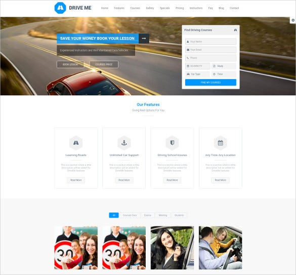 driving school wordpress website theme