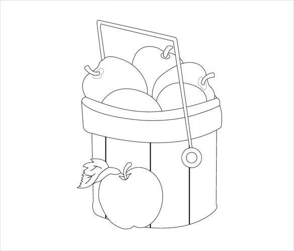 simple apple basket drawing template download