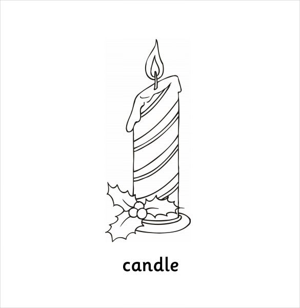 simple candle drawing template