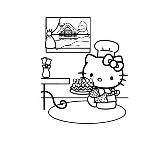 Hello Kitty Coloring Page 10 Free PSD AI Vector EPS Format