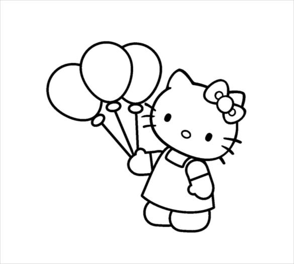 Hello Kitty With Balloons Coloring Pages : Hello kitty coloring page free psd ai vector eps
