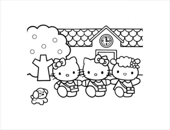 Hello Kitty House Coloring Page PDF Free Download