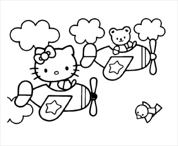 flying hello kitty coloring page pdf free download