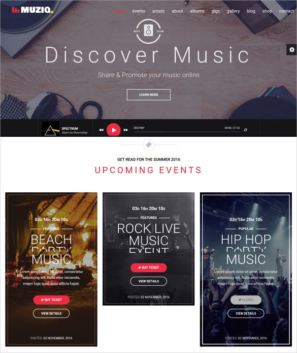 music dj band musician website template
