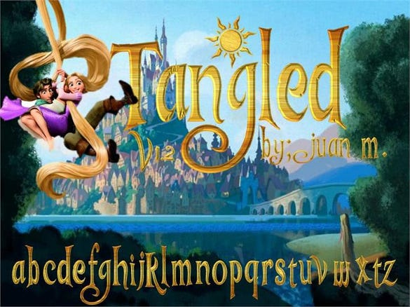 disney tangled font template