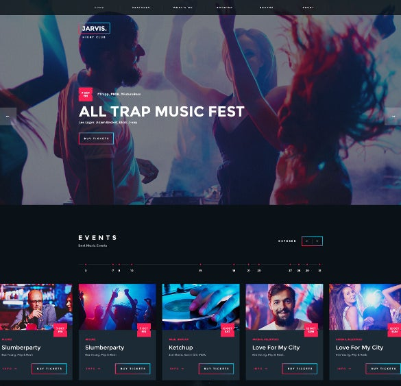 night dj club wordpress website theme