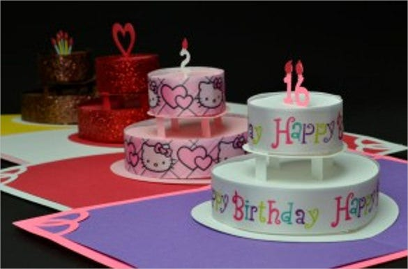 birthday cake up card template