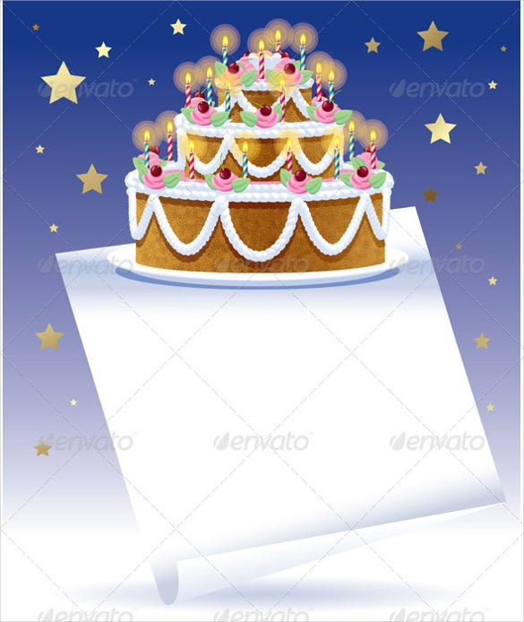 birthday cake with white banner template