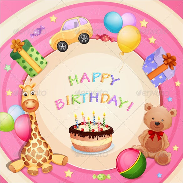 birthday card with birthday cake template
