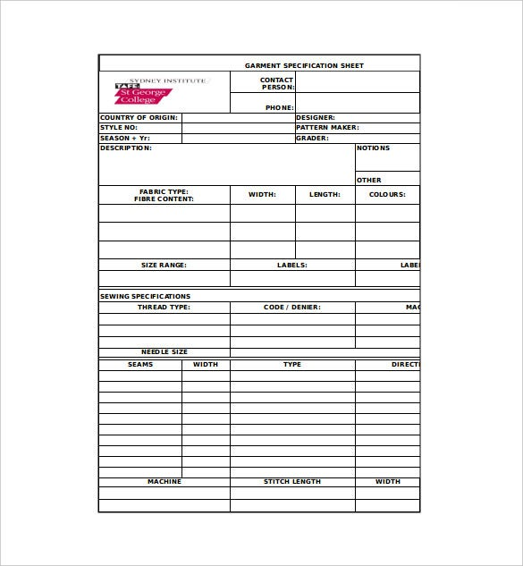 Amazing Garment Specification Sheet Template