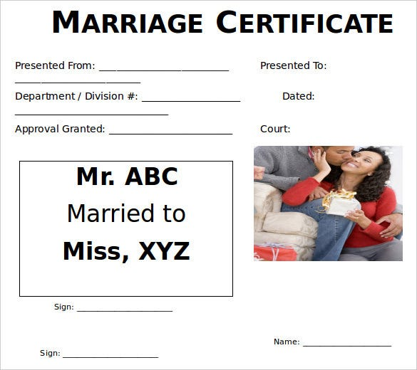 download printbale marriage certificate template