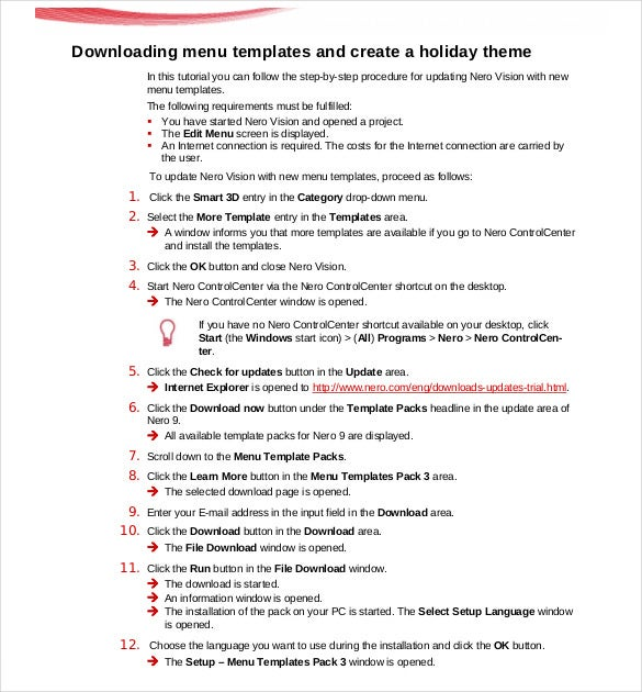 free download holiday menu template pdf format
