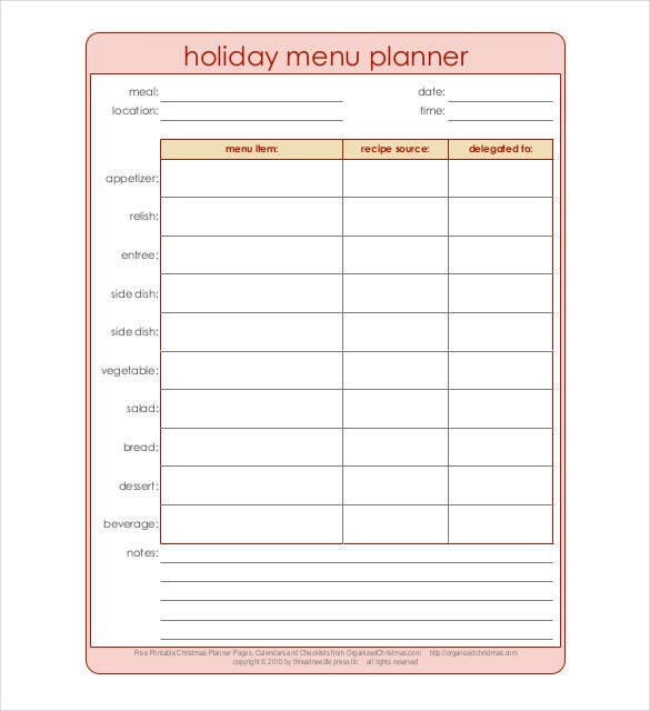 holiday menu planner pdf format free template