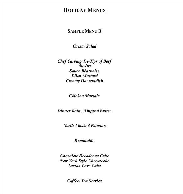 pdf format holiday menus template free download