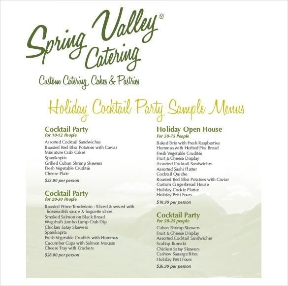 cocktail party holiday menu free template pdf