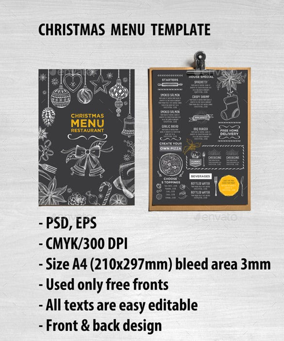 christmas holiday restaurant style template