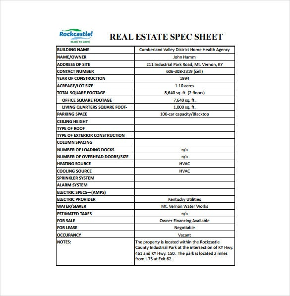 real estatae spec sheet pdf template free download
