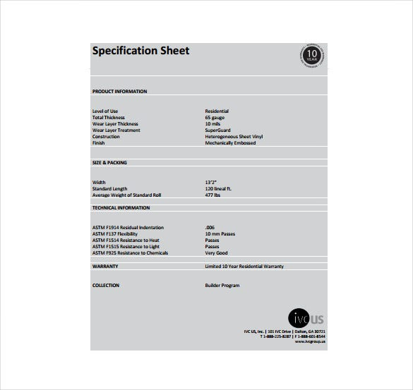 builder spec sheet free pdf template download