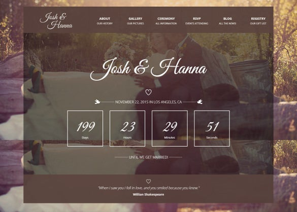 simple datine wedding website template