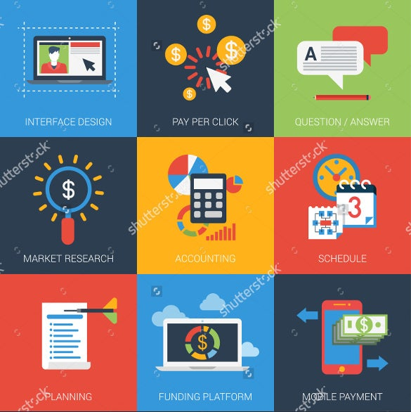 flat designed business accounting icons
