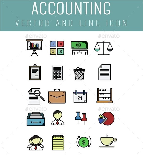 vector line accounting icons download