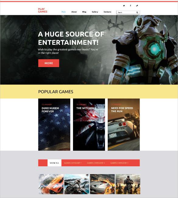 play games wordpress website theme