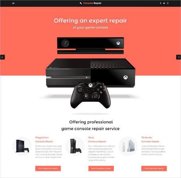 elegant video games website template