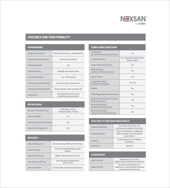 assureon spec sheet free pdf template download