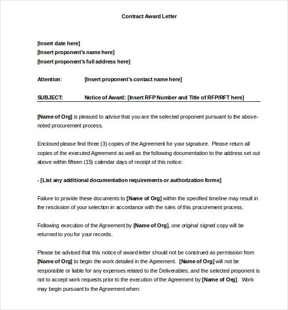 Award Letter Template - 13+ Free Word, Pdf Documents Download