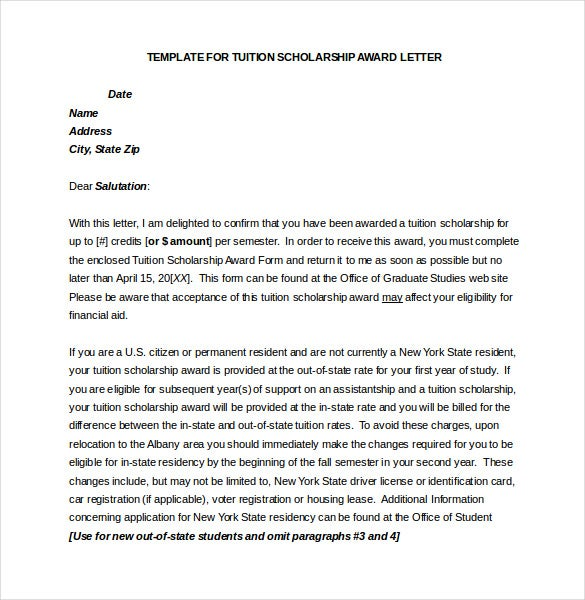 tution scholarship award letter template word file