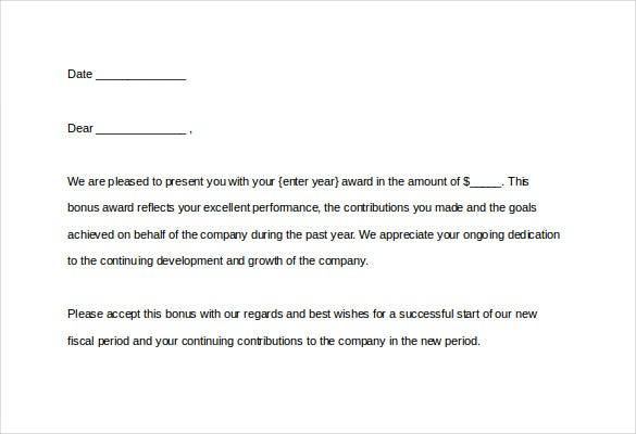 13 award letter templates pdf doc free premium for Performance bonus template