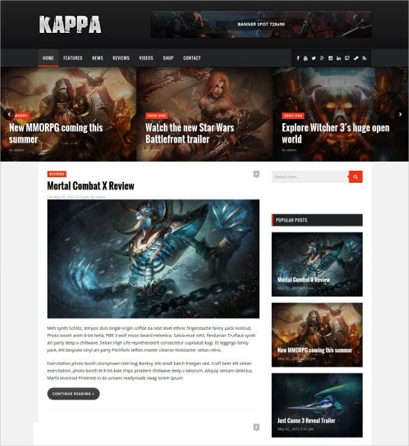 gaming wordpress website blog theme