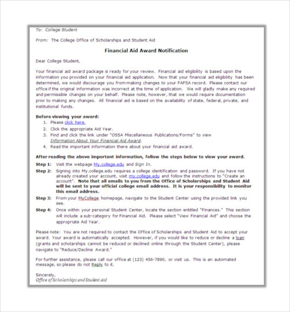 financial aid award letter template