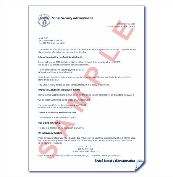 social security award letter template