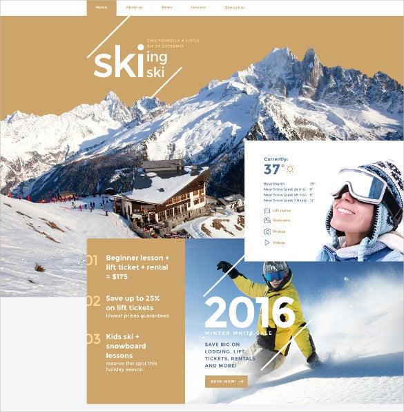 skiing sport website template