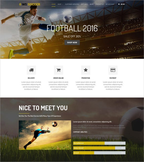 soccer sport wordpress website template