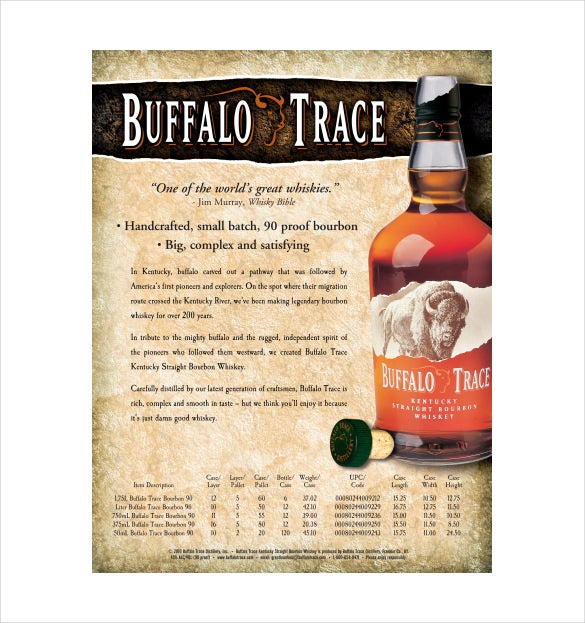 Perfect Buffalo Trace Sell Sheet Free PDF Template Download