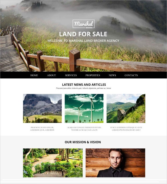 land brokers realtor website template