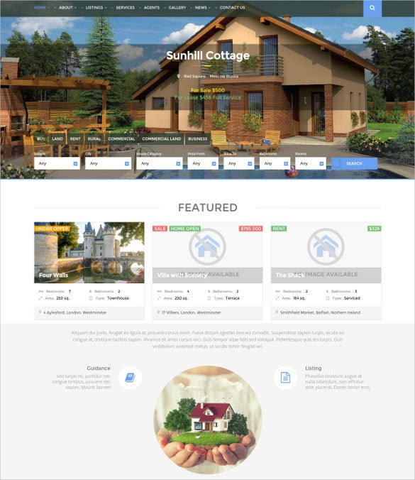 modern responsive real estate wordpress realtor website theme