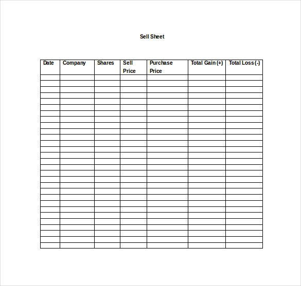 stock market game sell sheet word template free download