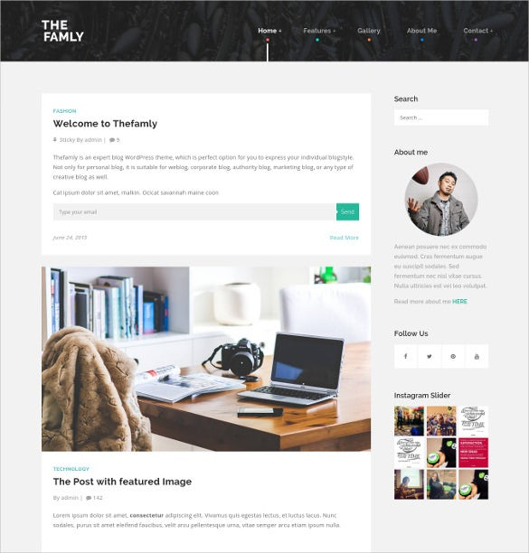 family personal blogger wordpress website theme