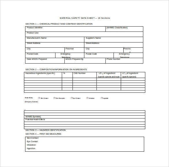 material safety data sheet word template free download