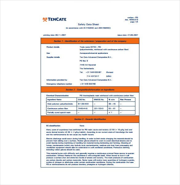 safety data sheet pdf template free download