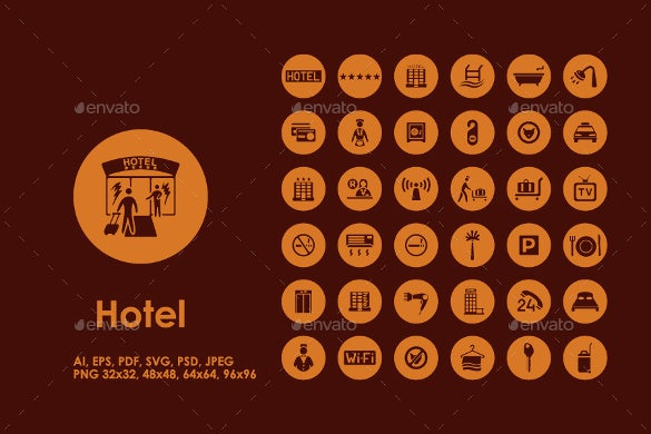 36 hotel icons download
