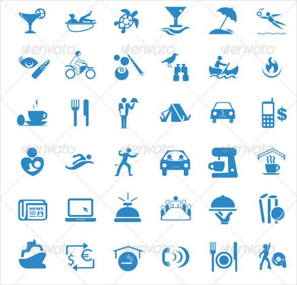 set of new hotel icons template