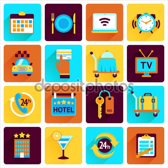 flat designed hotel icons