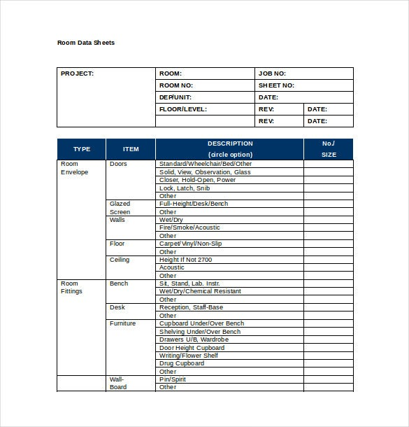 room data sheet word template free download